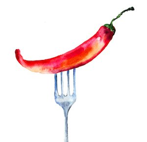 Red hot chili peppers on the fork