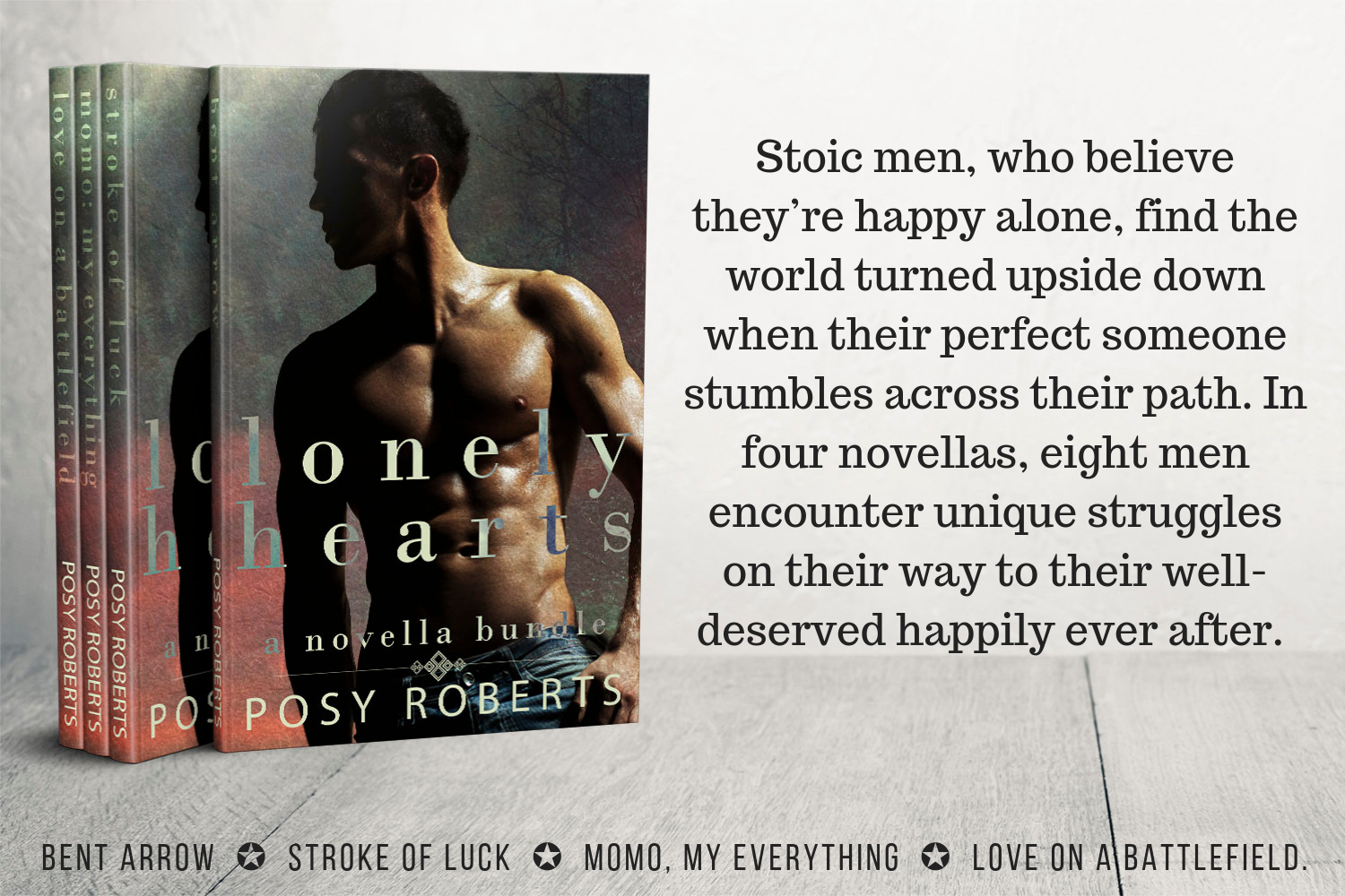 Stoic men, who believe they_re happy alone, find the world turned upside down when their perfect someone stumbles across their path. In four novellas, eight men encounter unique strugg